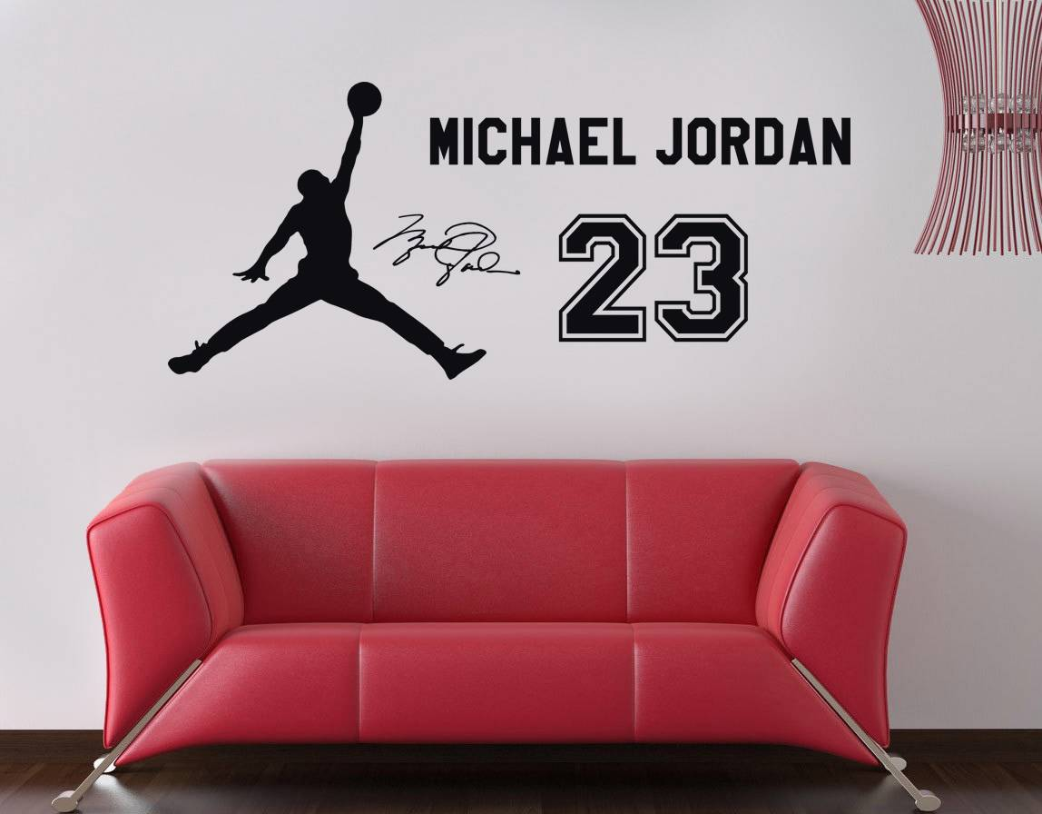michael jordan 23 decal wall sticker art home decor awoo 174 hand holding basketball michael jordan wall stickers