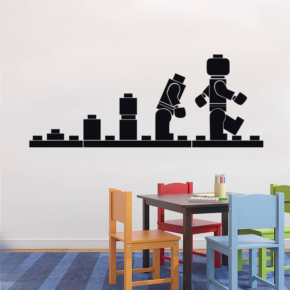 lego evolution decal wall sticker home decor art vinyl stencil kids st54 ebay. Black Bedroom Furniture Sets. Home Design Ideas