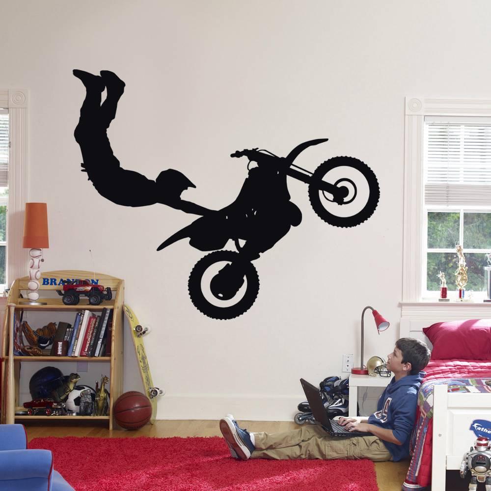 Stunt bike decal wall sticker home decor art dirt motor for Home decor 86th street