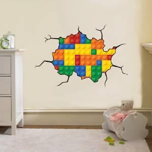 Lego Bricks Style Cracked Wall Effect Decal Wall Sticker