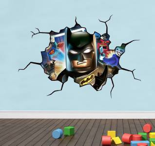 Lego batman cracked wall effect decal sticker home decor for Batman wall mural decal