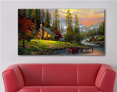 4 sizes cabin in the woods canvas print wall decor art. Black Bedroom Furniture Sets. Home Design Ideas