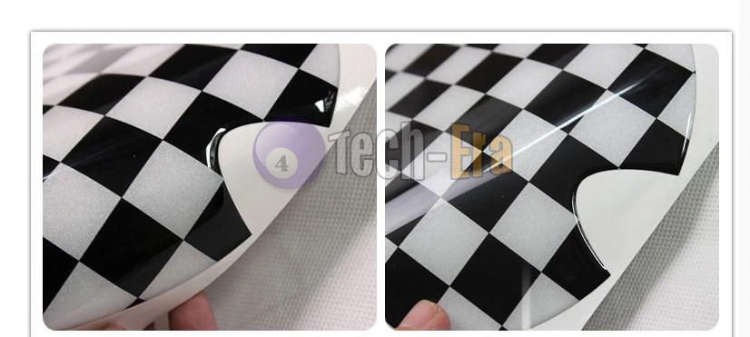 1pc Black White Checkered Pattern Vinyl Sticker For Mini