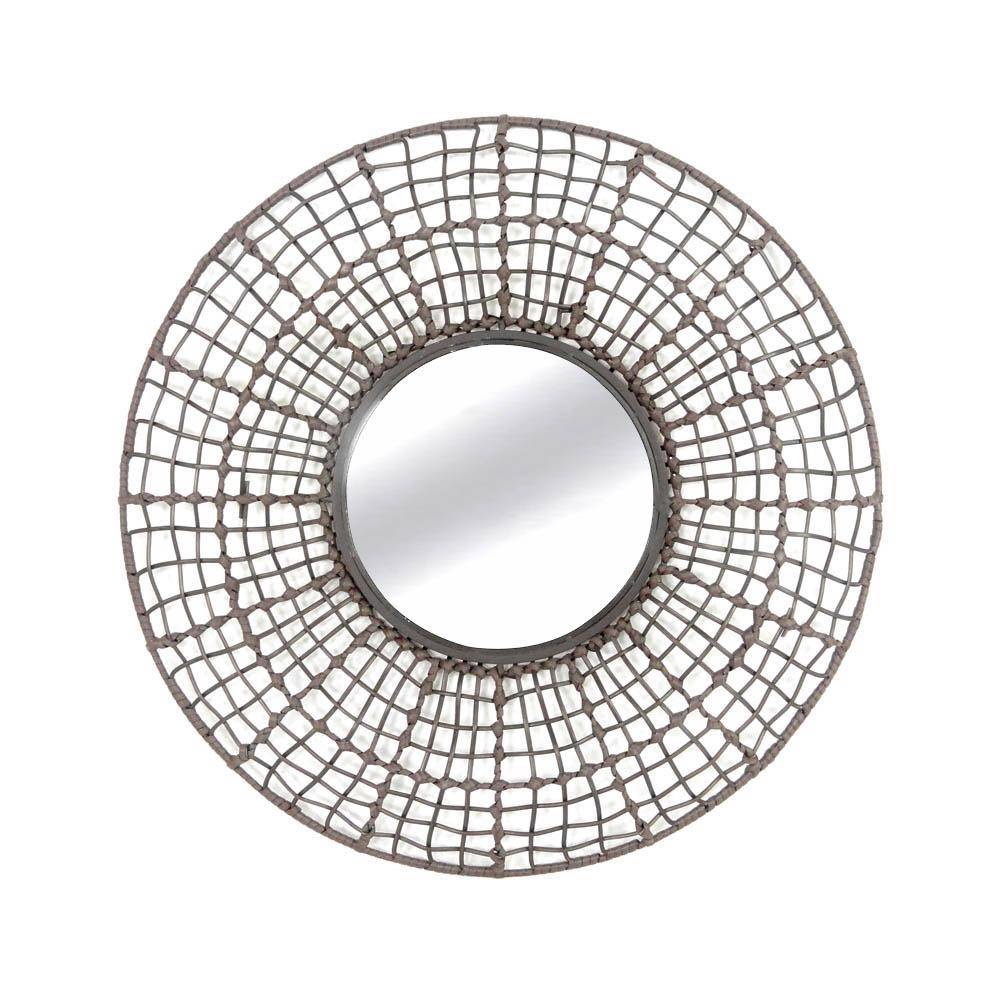 Rattan Wall Decor Round : New mirror large round taupe iron modern hanging wall