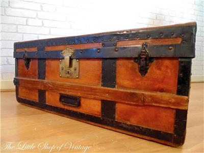 Vintage Banded Steamer Trunk Storage Chest Ottoman Toy Box Small Coffee Table Ebay