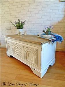 Shabby Chic Ottoman Trunk Chest Blanket Toy Box Coffee Table Storage Old White Ebay