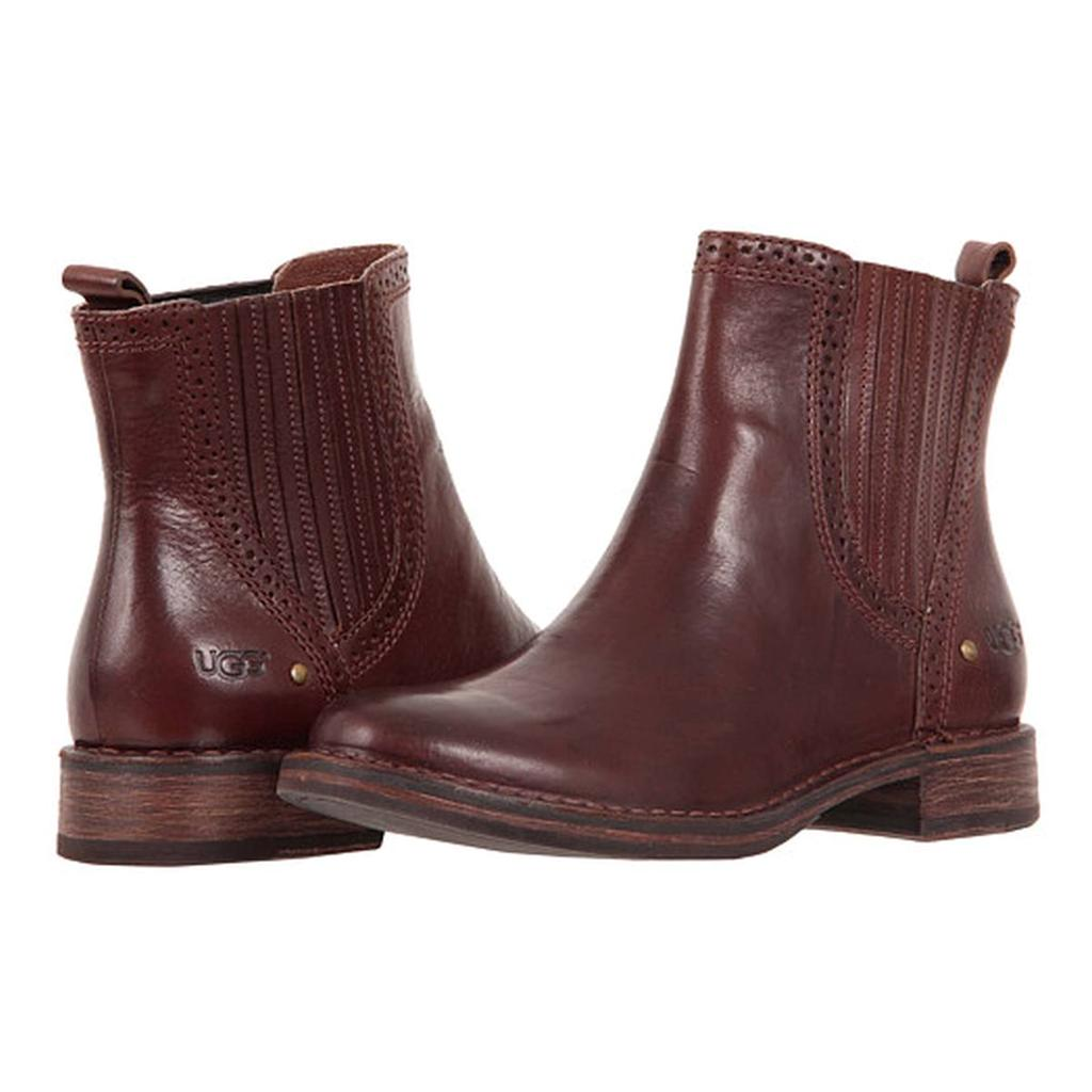 ugg boots brown leather ankle boots caraby ugg australia
