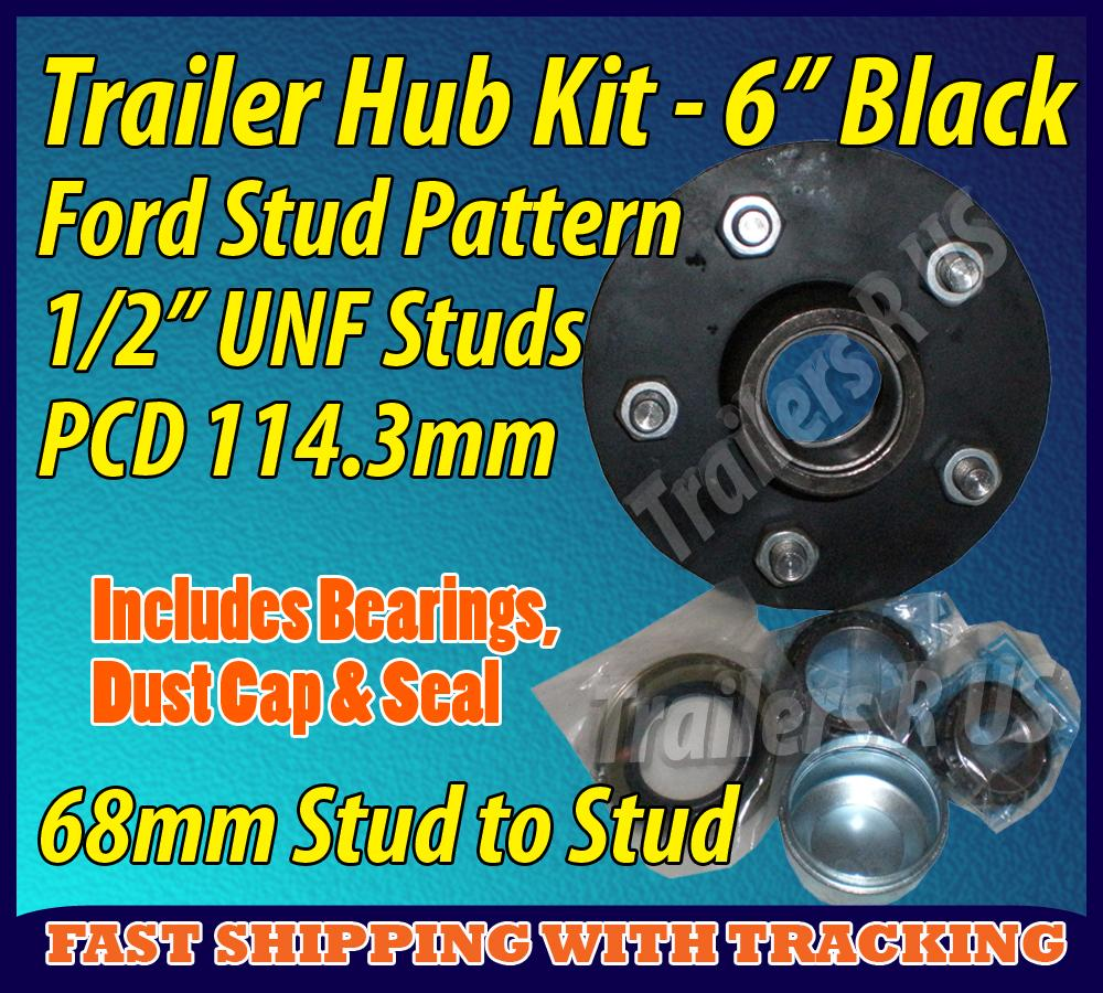 Trailer-Hub-6-Ford-5-Stud-With-Bearings-Dust-Cap-Seals-BLACK