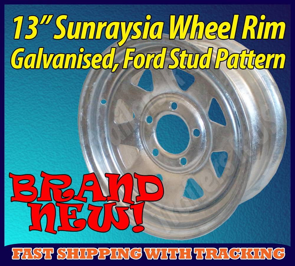 13-Sunraysia-Wheel-Rim-Galvanised-Ford-Stud-Pattern-Trailer-Caravan-Boat-New