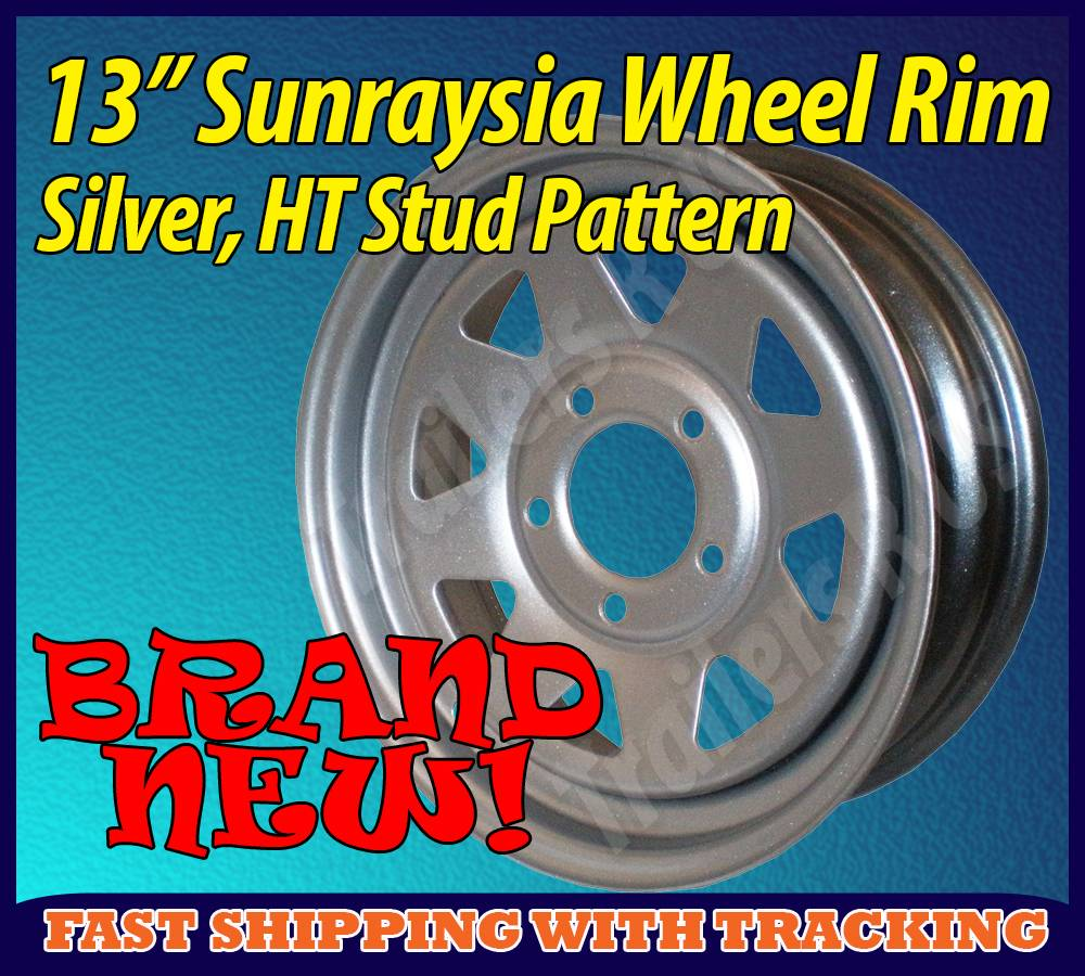 13-Sunraysia-Wheel-Rim-Silver-Holden-HT-Stud-Pattern-Trailer-Caravan-Boat-New