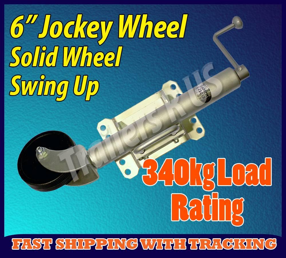 6-Trailer-Jockey-Wheel-Swivel-Solid-Tyre-Swing-Up-270mm-Extension-340kg-Load
