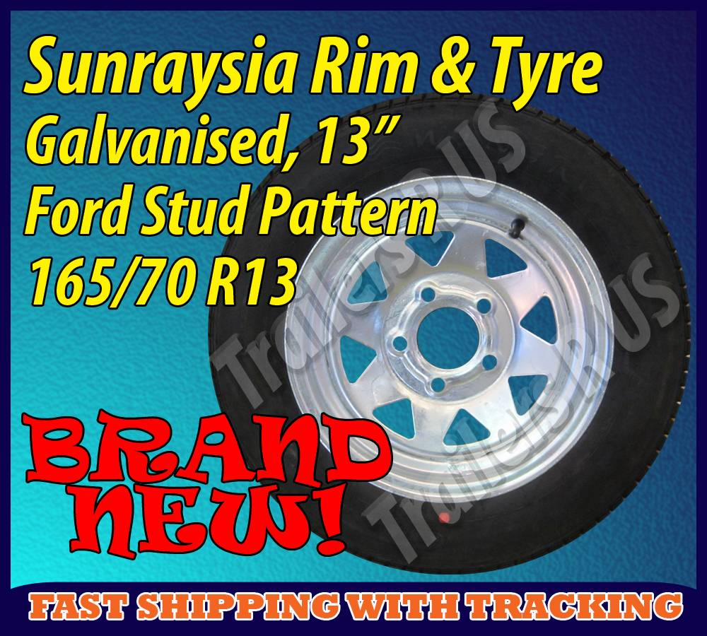 Galvanised-Sunraysia-Rim-and-Tyre-13-Ford-Wheel-Trailer-Part-Caravan-Boat