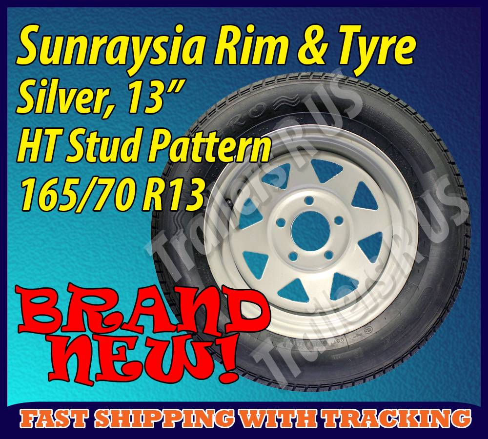 Silver-Sunraysia-Rim-and-Tyre-13-HT-Holden-Wheel-Trailer-Part-Caravan-Boat