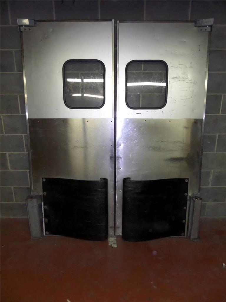 Commercial stock room restaurant retail kitchen doors double swinging bumps 68 - Commercial double swing doors ...