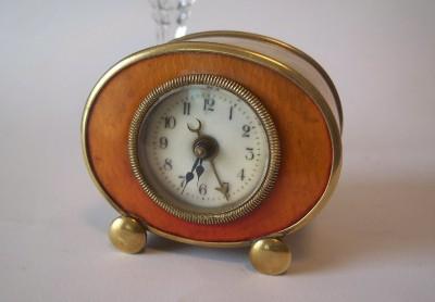 Unusual Small German Wecker Antique Alarm Clock Enamel