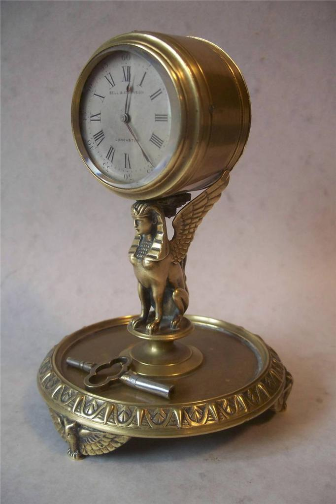 Quality Antique Egyptian Revival French Desk Clock Sphinx