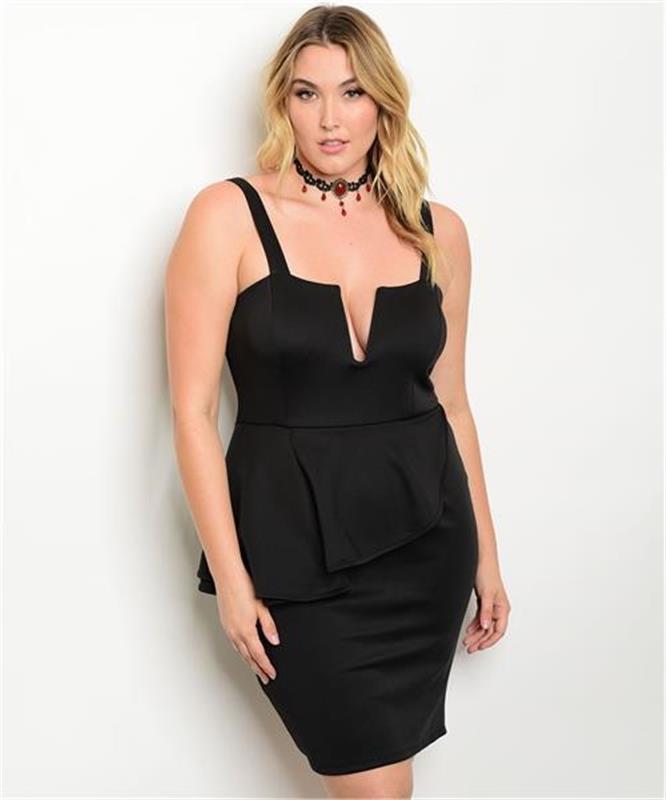 new sassy sexy black plus size stretch peplum dress with plunge neckline sz18 ebay. Black Bedroom Furniture Sets. Home Design Ideas