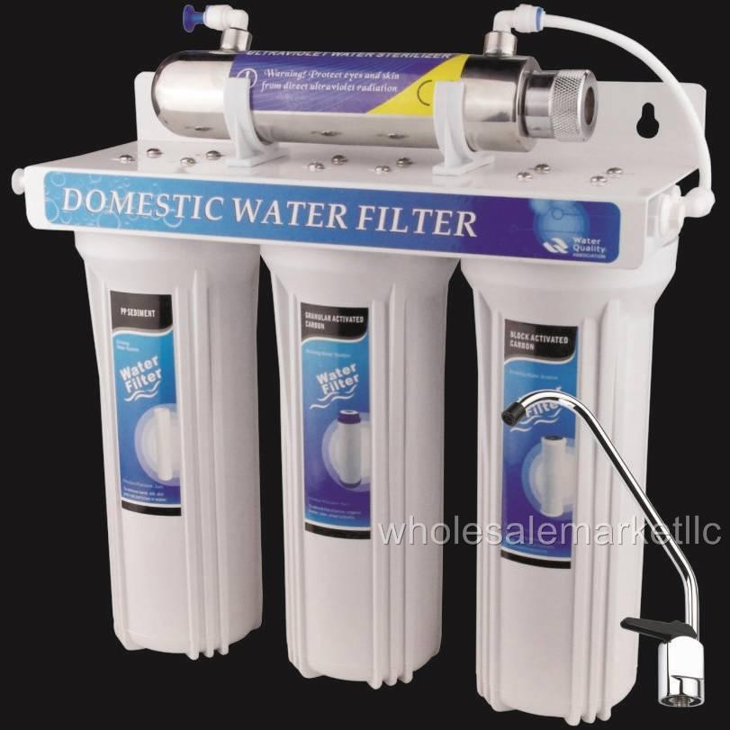 uv ultraviolet light drinking water filter system 4 stage under sink. Black Bedroom Furniture Sets. Home Design Ideas