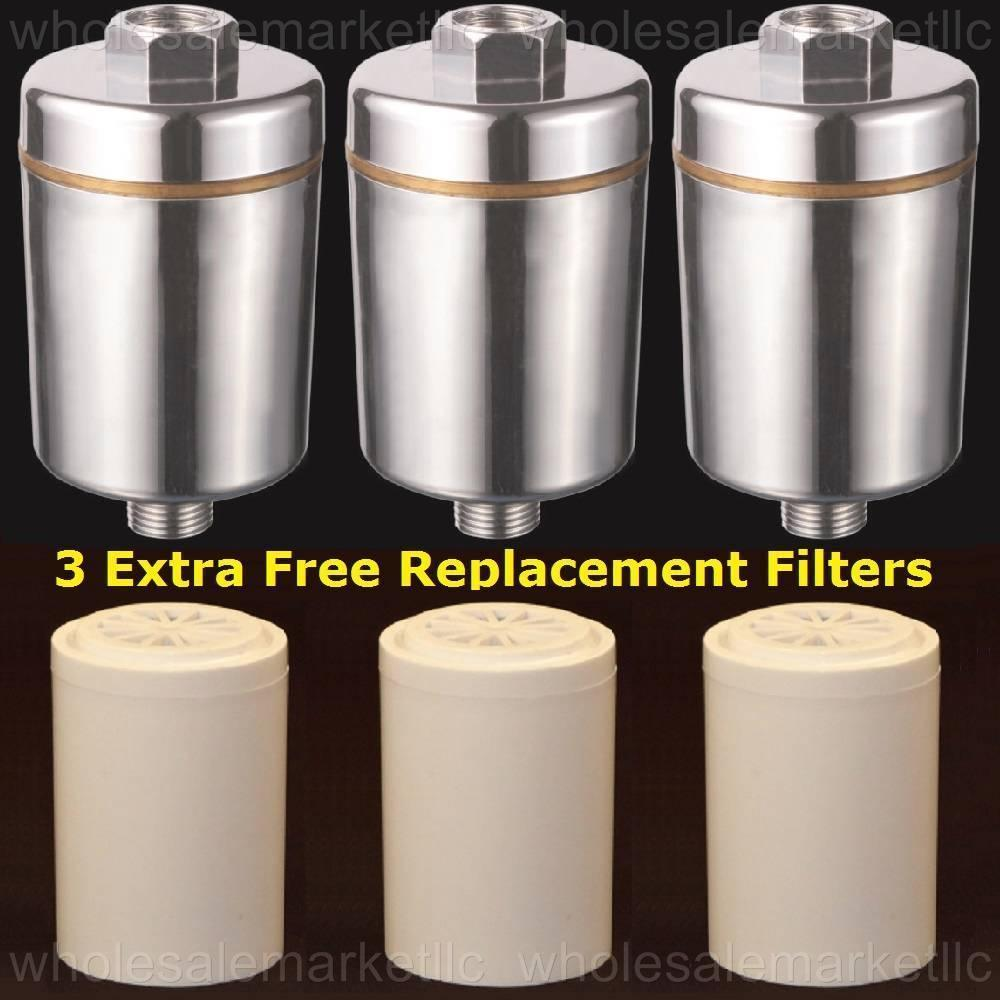 bathroom shower filter w carbon kdf to remove chlorine 3 free replacements ebay. Black Bedroom Furniture Sets. Home Design Ideas