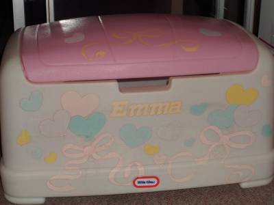 unique little tikes pink toy box girls personalized emma fremont mi or chicago ebay. Black Bedroom Furniture Sets. Home Design Ideas