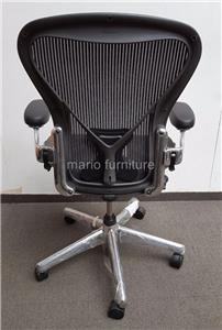 about herman miller aeron office chair polished aluminium size b