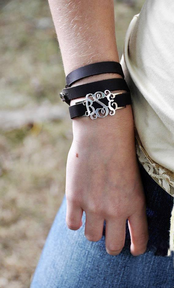personalized leather wrap bracelet monogram initials womens teen custom jewlery