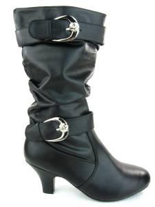 Women\'s Dress Boots Low Heel Calf High Leather Synthetic Zipper ...