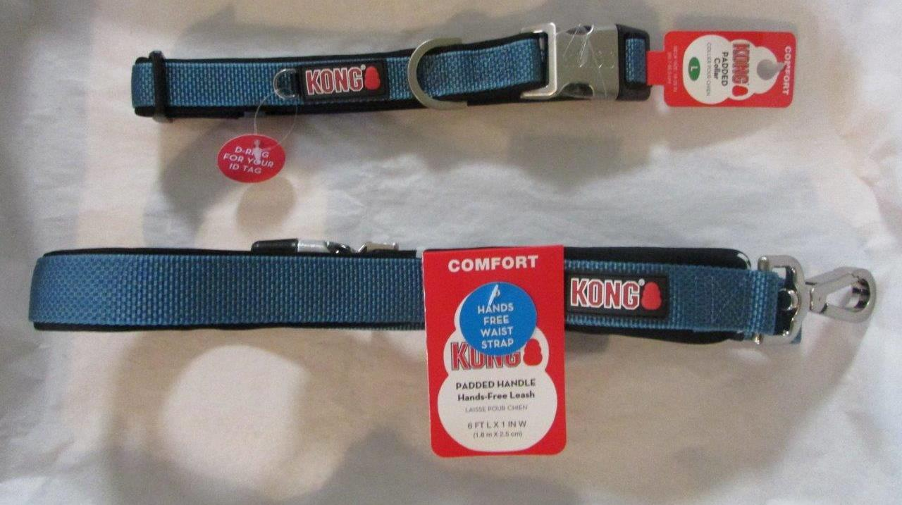 Dog Collar n Leash KONG Large Blue NEW Padded Traffic Handle Handsfree Comfort