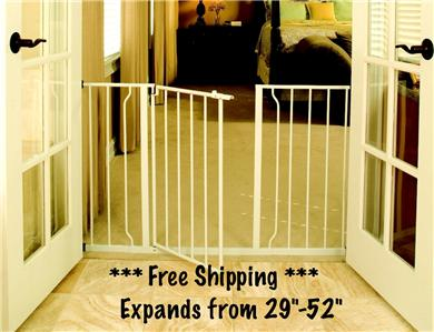 NEW EZ Open Extra Wide Metal Indoor Gate Adjustable 29 52 Baby Dog Pet ...