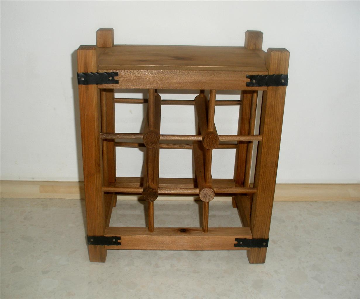 Wooden Wine Rack 9 Bottles Antique Pine Or Walnut Stained