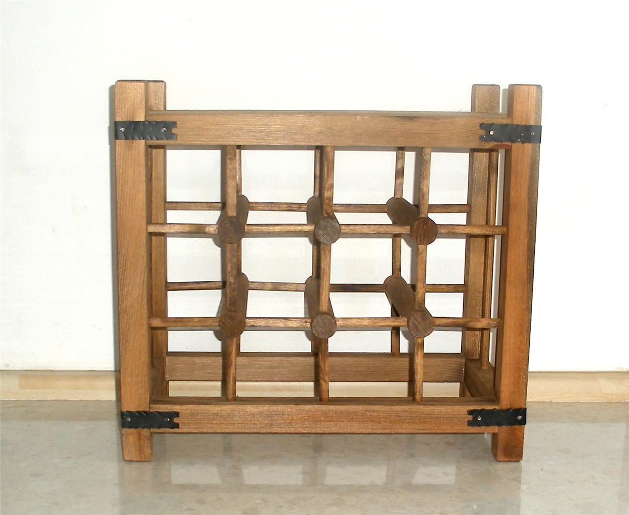 Antique Wooden Racks ~ Wooden wine rack bottles antique pine walnut stained