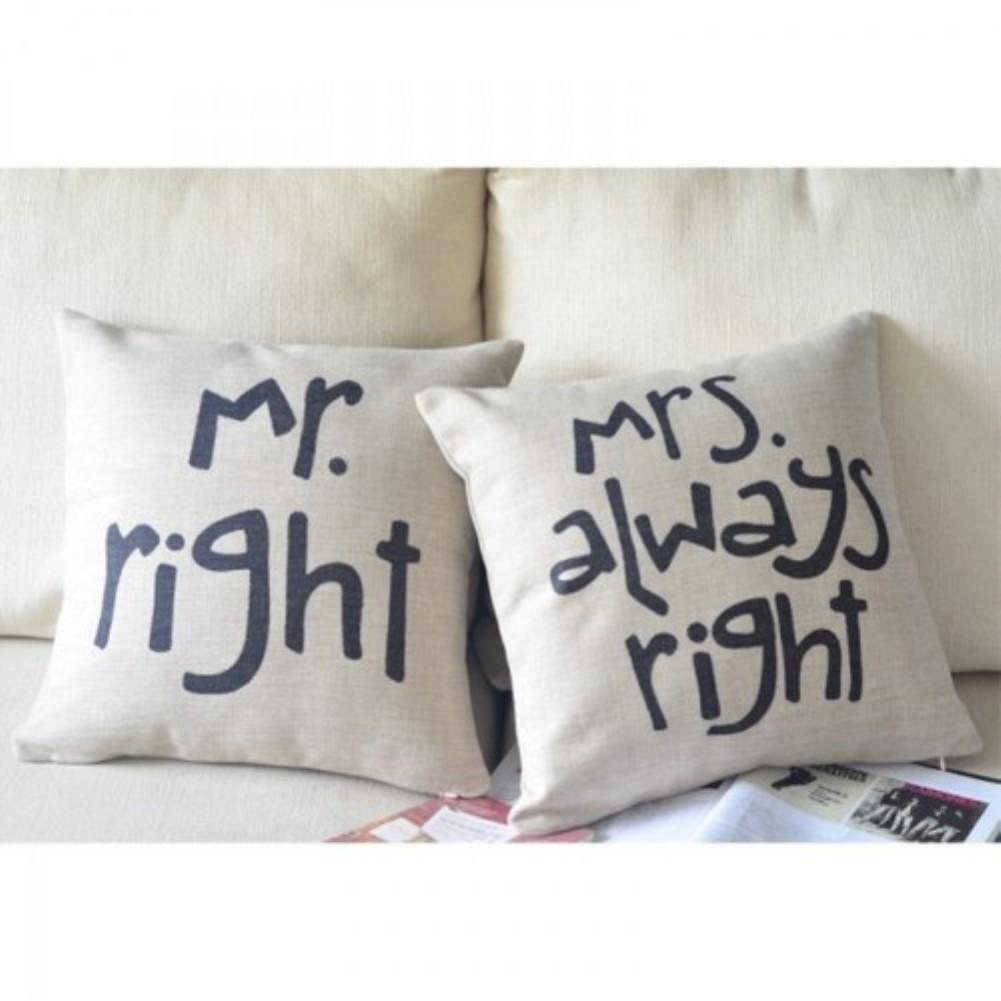 "Mr Right & Mrs Always Right Pillow Case Cushion Cover With Inner Pads 18"" 45cm"