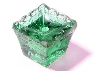 Vintage Czech Art Glass Light Green Crystal Glass