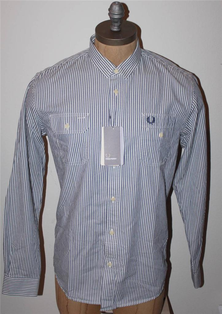 AUTH  Fred Perry Men's Labourers Striped Work Shirt L