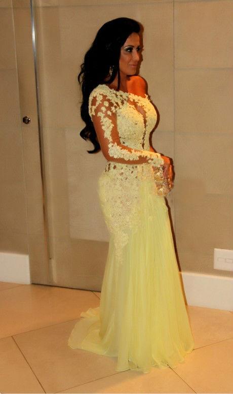 Yellow Mermaid Prom Dresses 2014 2014 New Yellow...