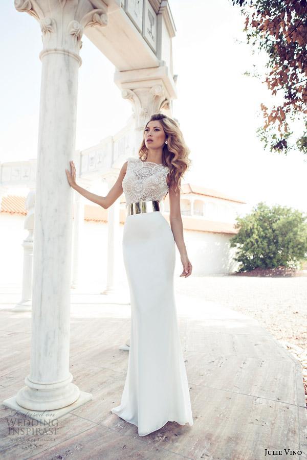 Julie vino dress wedding bridal dresses custom slit for How much is a custom wedding dress