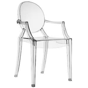 Clear Philippe Starck Style Louis Ghost Arm Chair Set Of 2