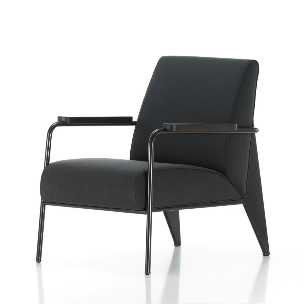 mid century modern jean prouv style fauteuil de salon armchair white black. Black Bedroom Furniture Sets. Home Design Ideas