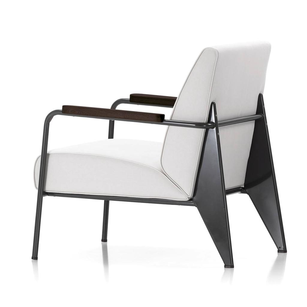 mid century modern jean prouv style fauteuil de salon armchair white black. Black Bedroom Furniture Sets. Home Design Ideas