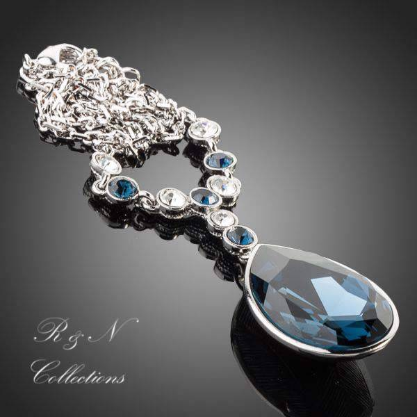 Platinum plated made w swarovski ink blue crystal pendant for What is platinum jewelry made of