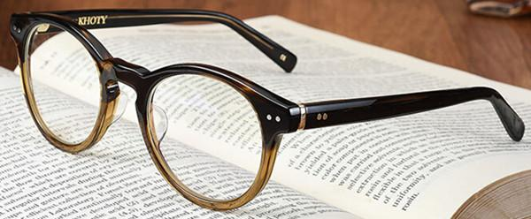 Round Frame Glasses Japan : KHOTY authentic japan Hand made Retro round Men Women ...