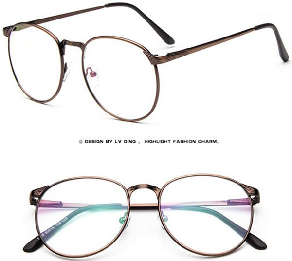 Vintage men eyeglass frame Womens Round metal Eyeglasses ...