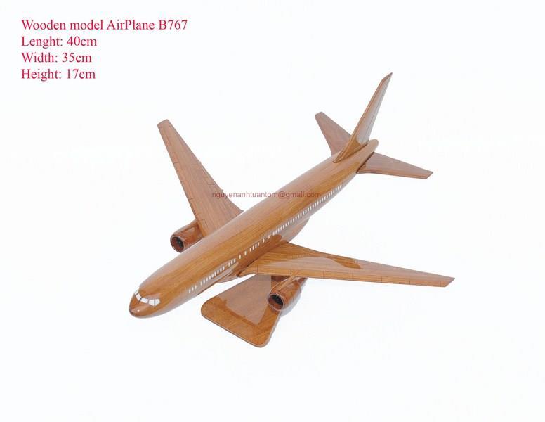 Boeing 767 Wooden Airplane Model Handmade Beautiful
