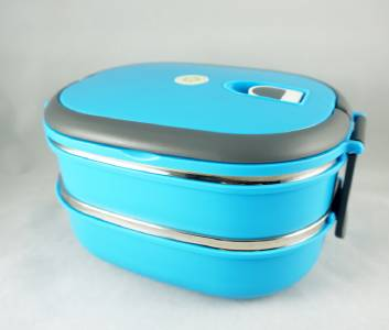 2 tier stainless steel insulated bento lunch box portable thermal lunchbox blue. Black Bedroom Furniture Sets. Home Design Ideas