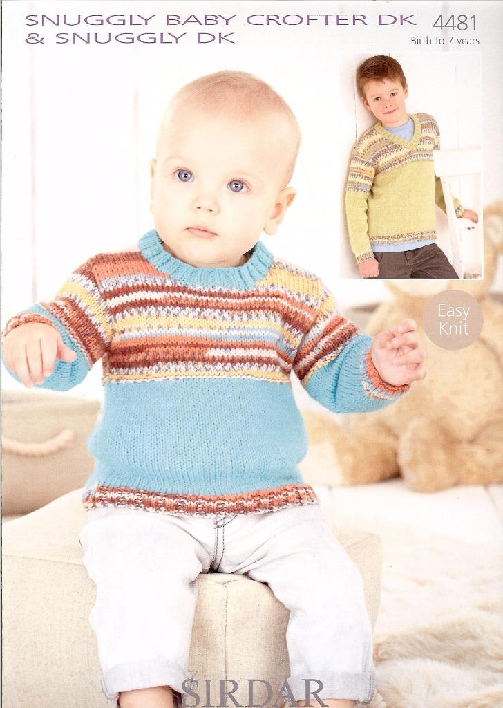 4481 SIRDAR SNUGGLY & BABY CROFTER DK BOYS SWEATERS KNITTING PATTERN ...