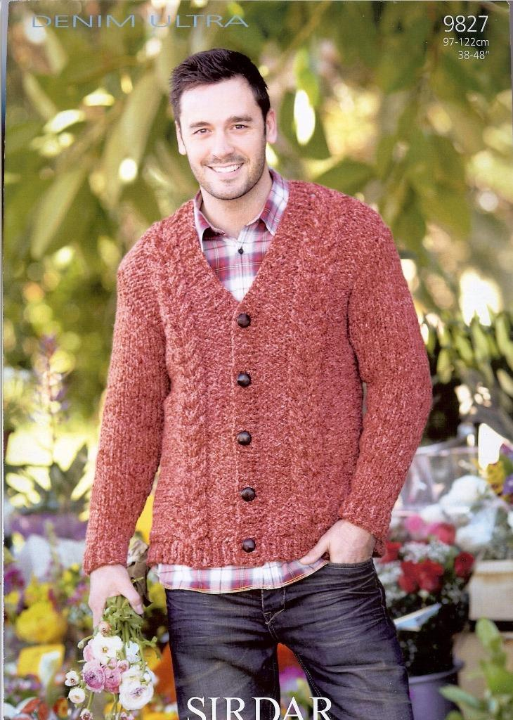 9827 SIRDAR DENIM ULTRA SUPER CHUNKY KNITTING PATTERN MENS CARDIGAN eBay