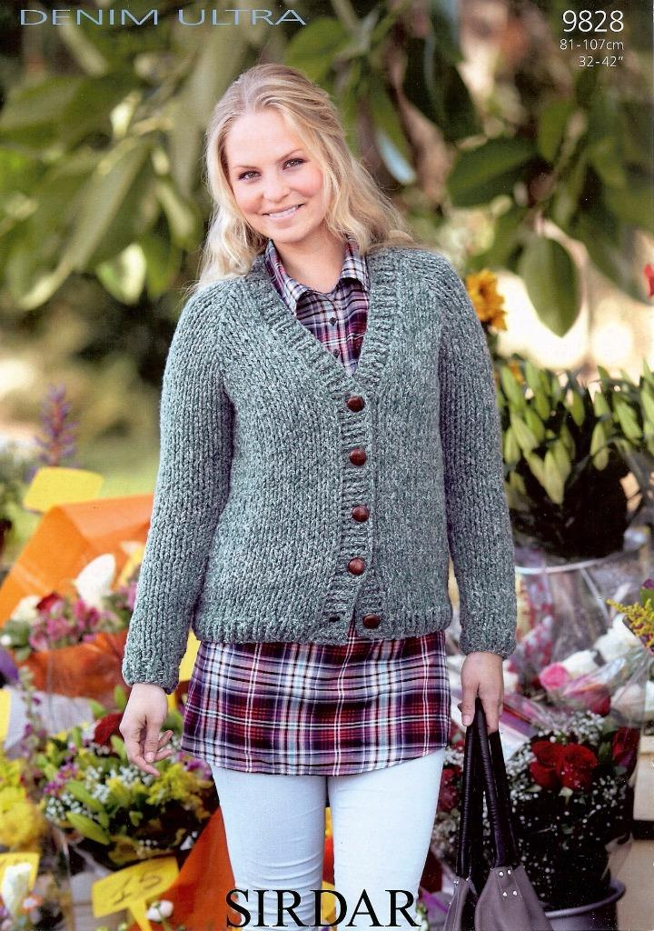 Sirdar Ladies Knitting Patterns : 9828 SIRDAR DENIM ULTRA SUPER CHUNKY KNITTING PATTERN LADIES CARDIGAN eBay