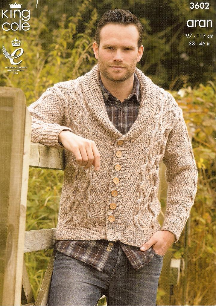 MENS GILET & SWEATER KNITTING PATTERN ARAN KING COLE 3603 eBay