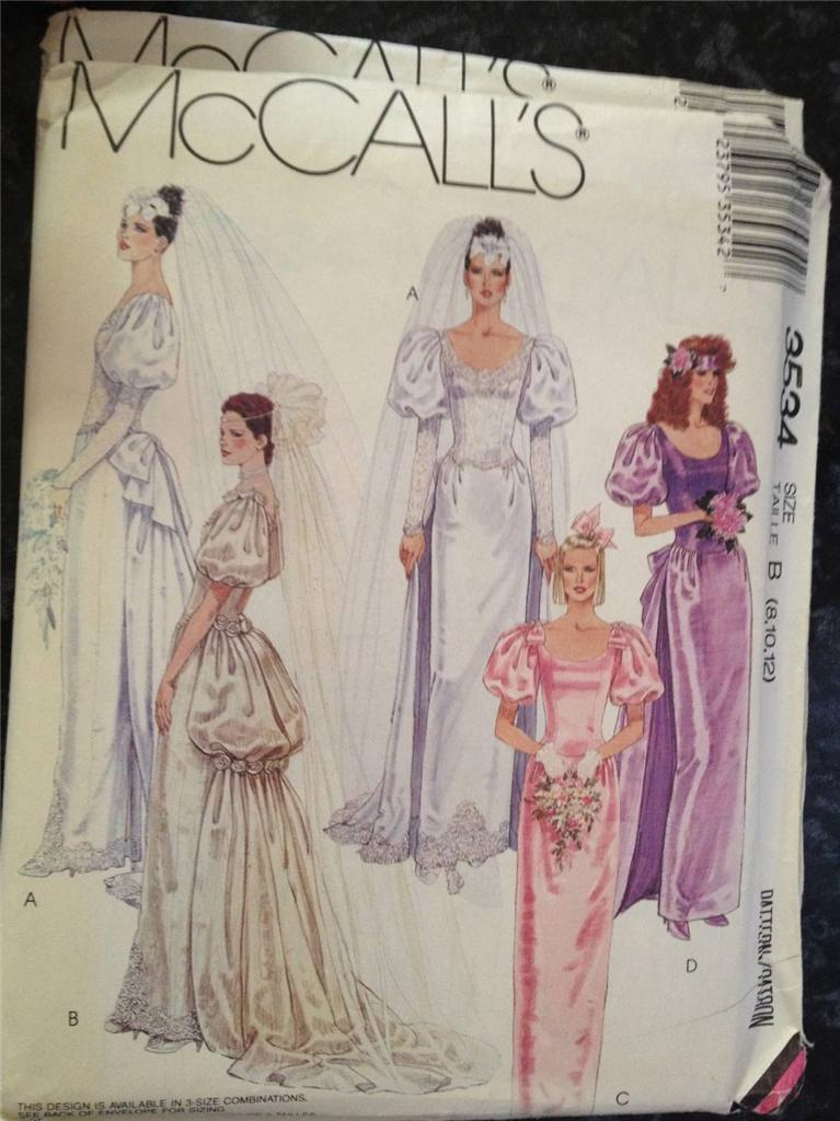 Sewing Pattern No 3534 McCalls Wedding Dress Size 6 10 EBay