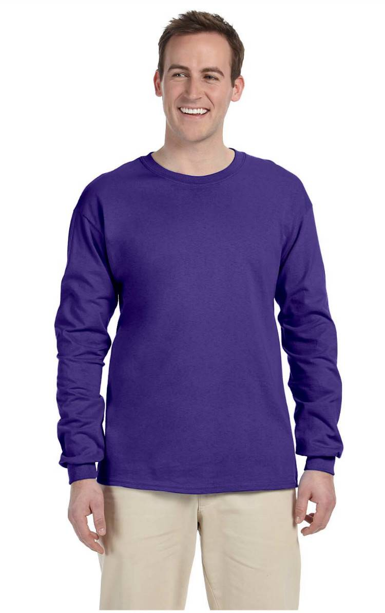 new fruit of the loom tee heavy cotton men 39 s long sleeve t shirt wd930 ebay. Black Bedroom Furniture Sets. Home Design Ideas